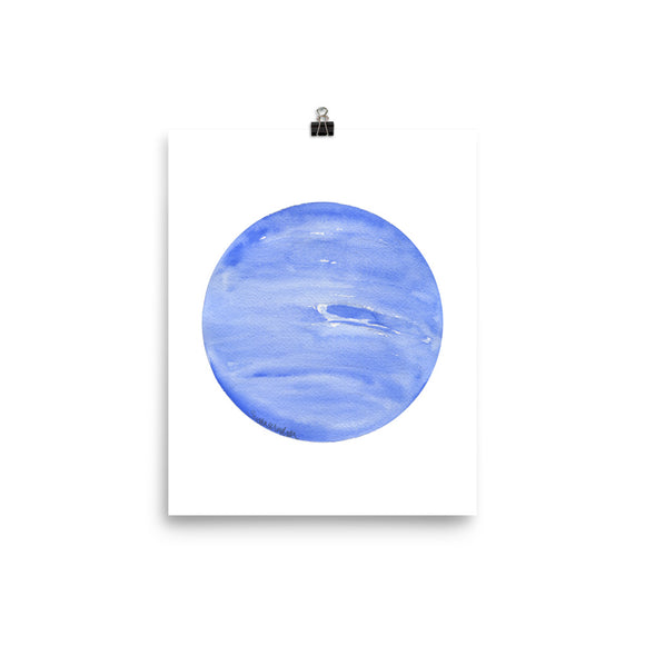 Neptune Planet Watercolor art print
