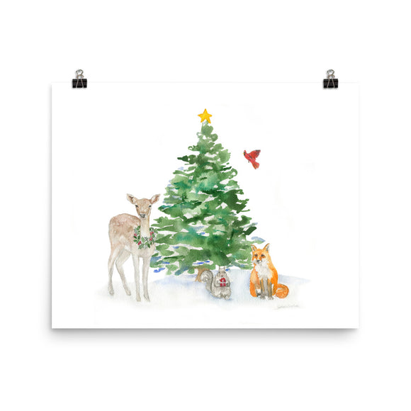 Woodland Animals Christmas Watercolor Print