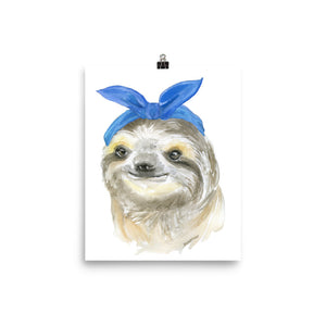 Sloth with a Blue Scarf Watercolor