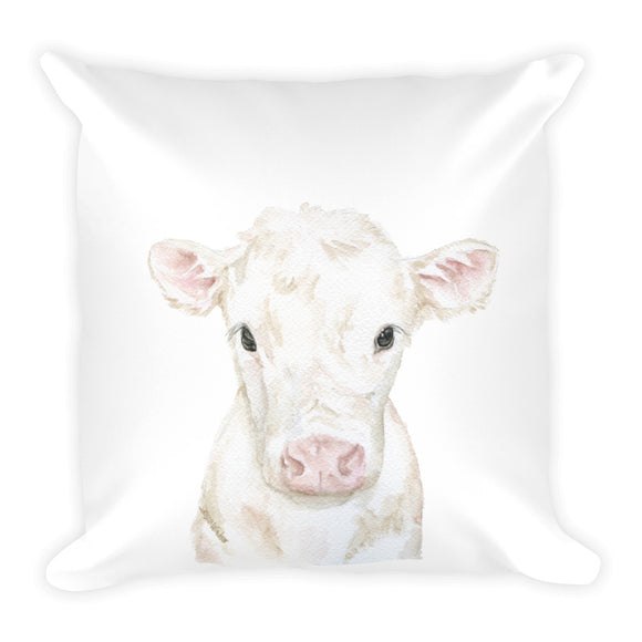 White Cow Calf Watercolor Throw Pillow