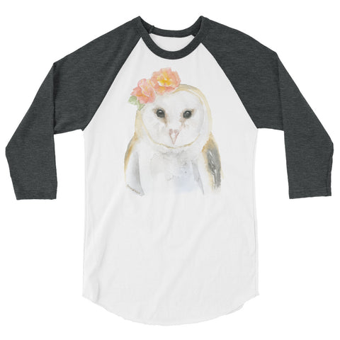 Barn Owl Floral Watercolor 3/4 sleeve raglan shirt