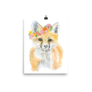 Fox with Flowers Watercolor