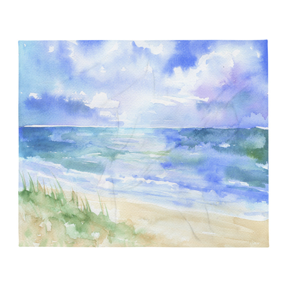 Ocean Watercolor Throw Blanket