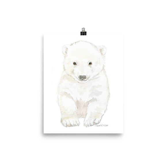 Polar Bear Cub Watercolor Painting