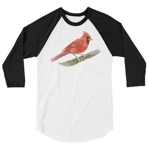 Cardinal Watercolor 3/4 sleeve raglan shirt