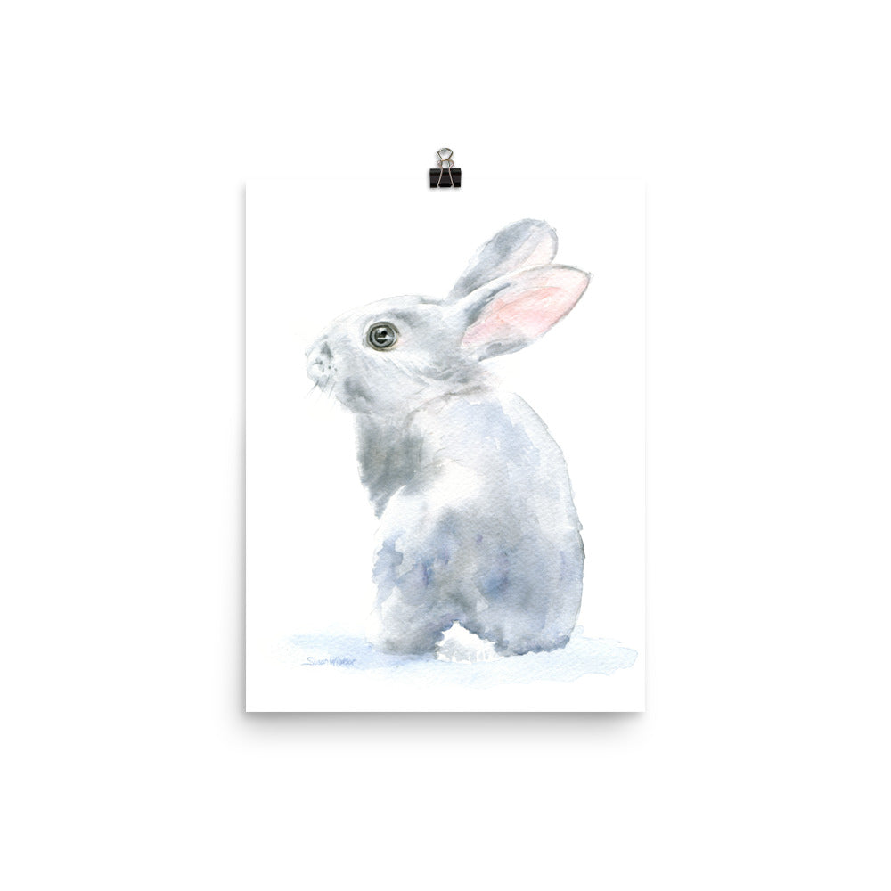 Gray Bunny Rabbit Watercolor