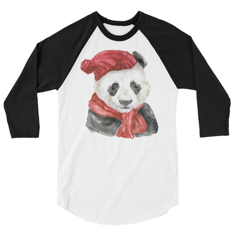 Panda Bear with Hat and Scarf Watercolor 3/4 sleeve raglan shirt