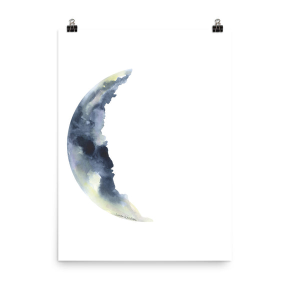 Waning Crescent Moon Watercolor