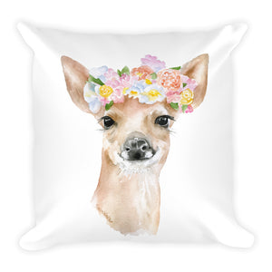 Deer with Flower Crown Square Pillow