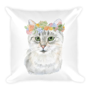Tabby Cat with Flowers Square Pillow