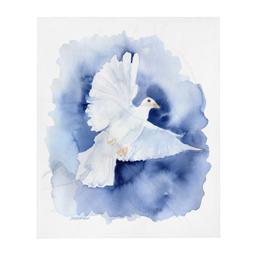 Dove Watercolor Throw Blanket