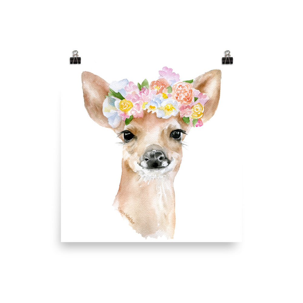 Deer Fawn with Flowers Watercolor