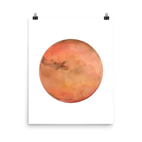 Mars Planet Watercolor art print