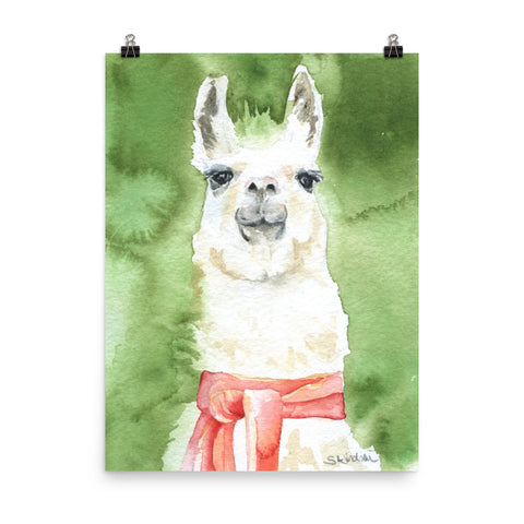 Llama with a Red Scarf Watercolor Print