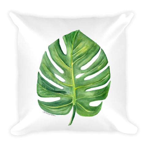 Monstera Leaf Watercolor Throw Pillow