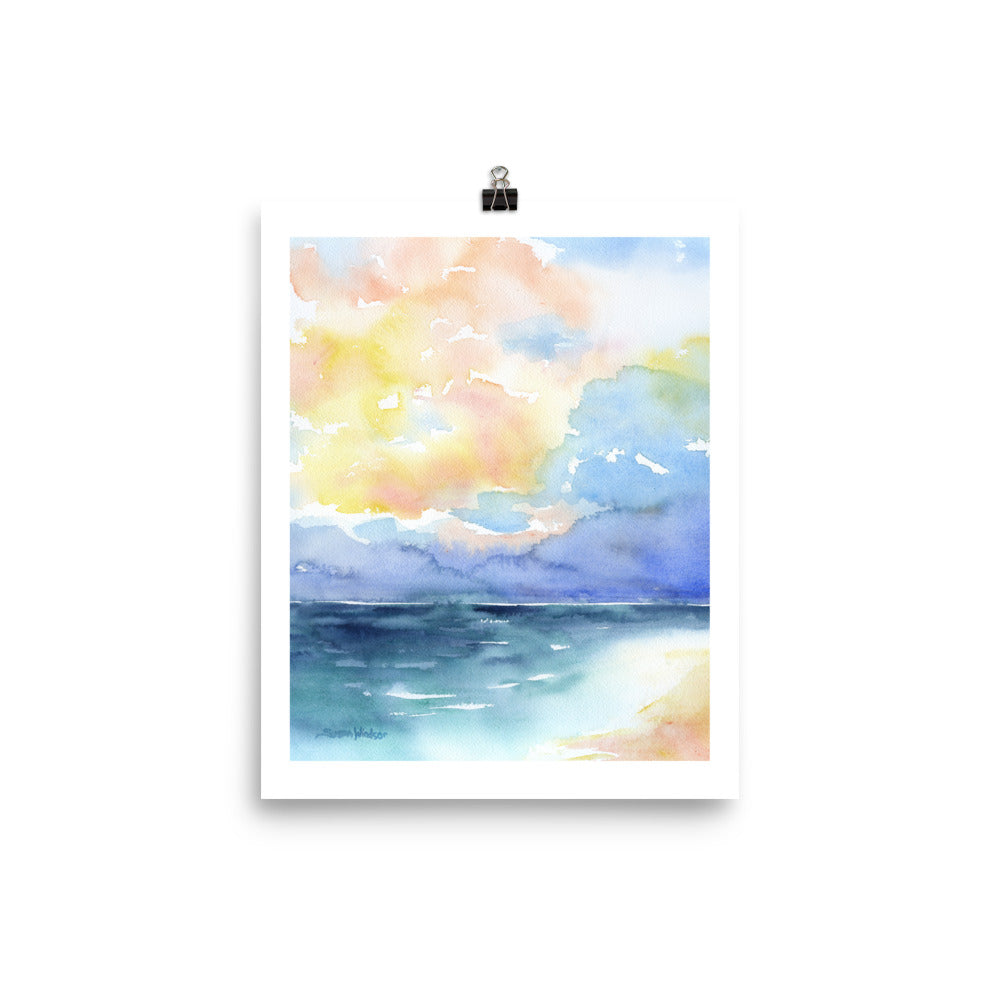 Abstract Beach Watercolor Seascape