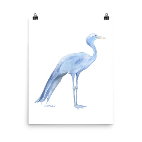 Blue Crane Watercolor Print