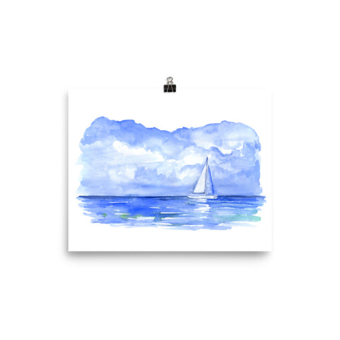 Sailboat on the Ocean Watercolor