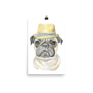 Pug with a Fedora Watercolor Painting