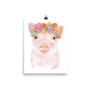 Pig Floral 1 Watercolor