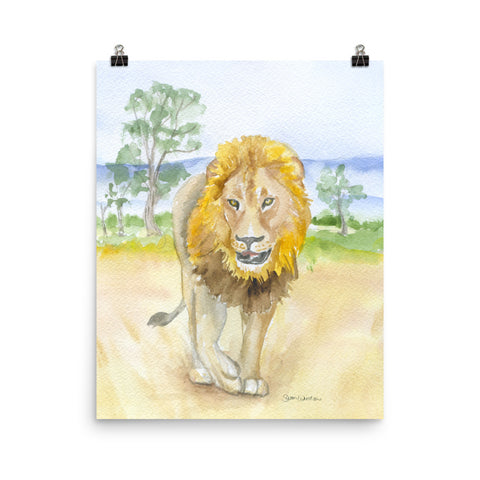 Lion in Africa Watercolor