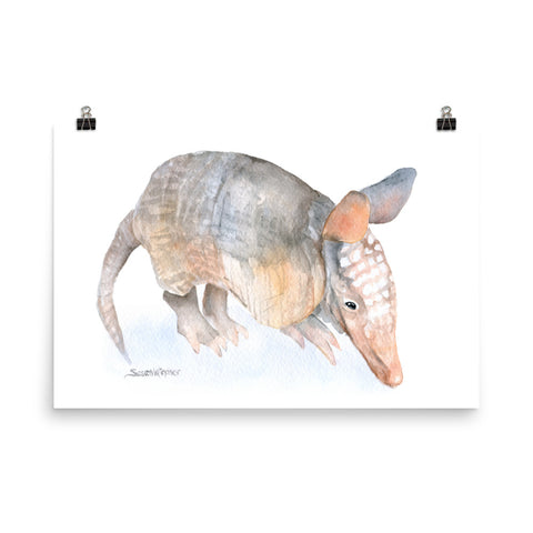 Armadillo Watercolor Print