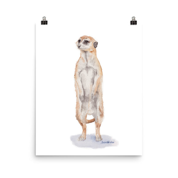Meerkat Watercolor Print