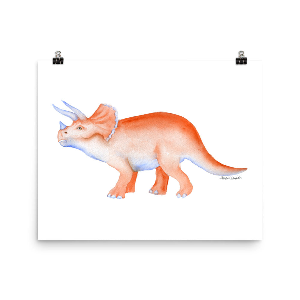 Triceratops Dinosaur Watercolor