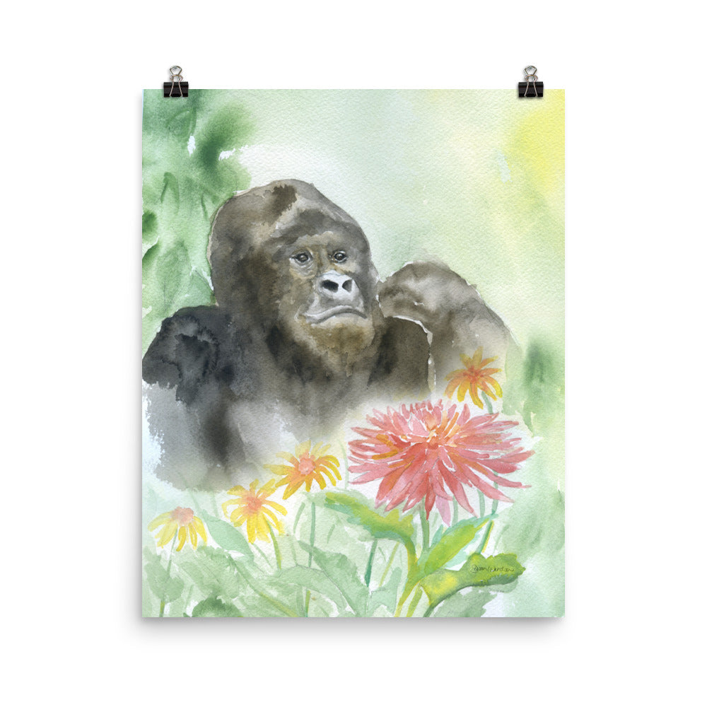 Gorilla in the Flowers Watercolor