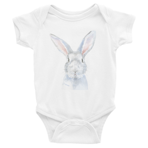 Gray Bunny Watercolor Infant Bodysuit