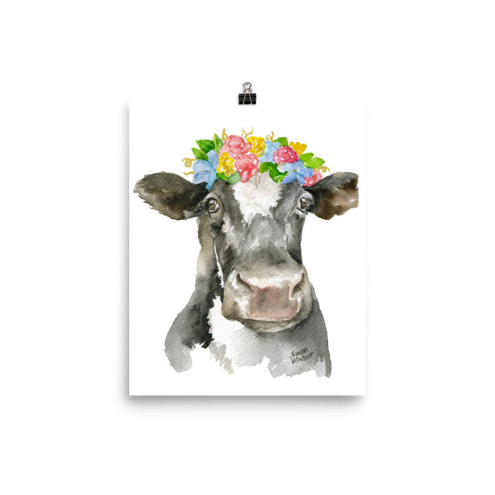 Black and White Cow Floral Wreath Watercolor