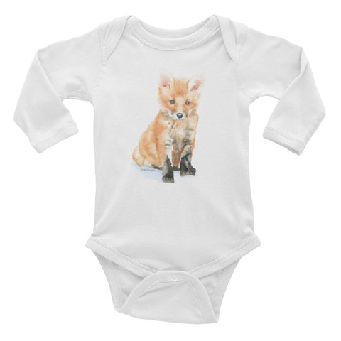 Baby Fox Watercolor Infant Long Sleeve Bodysuit