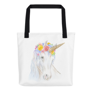 Unicorn Flowers Tote Bag