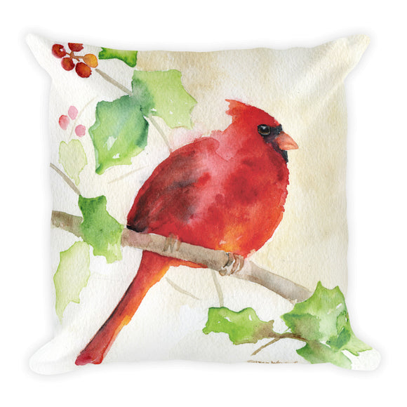 Red Cardinal and Holly Watercolor Square Pillow