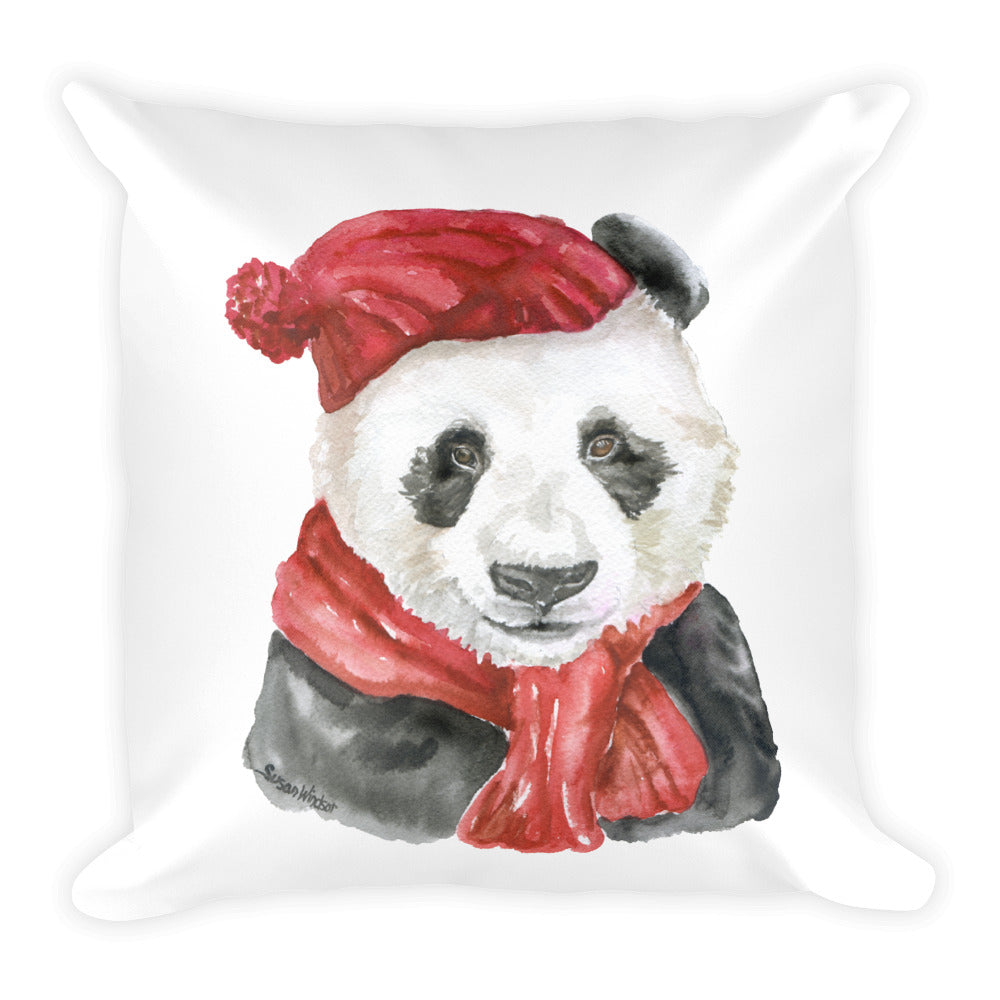 Panda Bear with Red Hat and Scarf Square Pillow