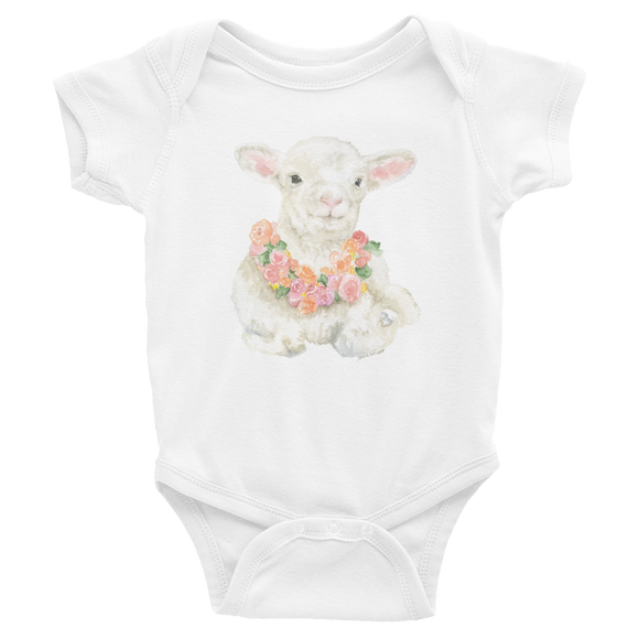 Lamb Floral Watercolor Infant Bodysuit
