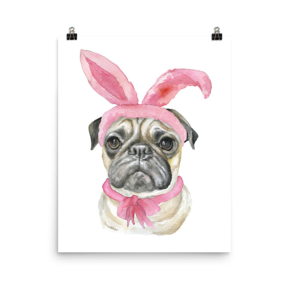 Easter Pug with Bunny Ears