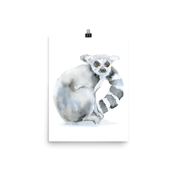 Ring-Tailed Lemur Watercolor Print
