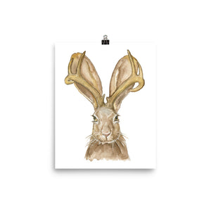 Jackalope Watercolor Painting Print