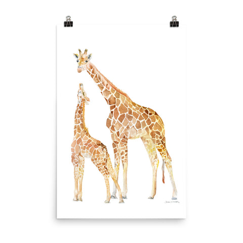 Mother and Baby Giraffes Watercolor