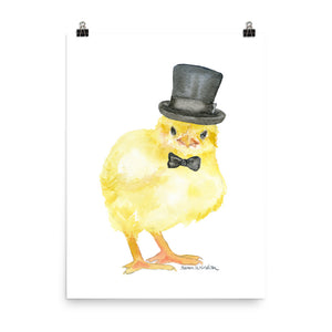 Chick with a Top Hat Watercolor