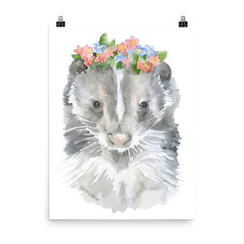 Skunk with Flowers Watercolor