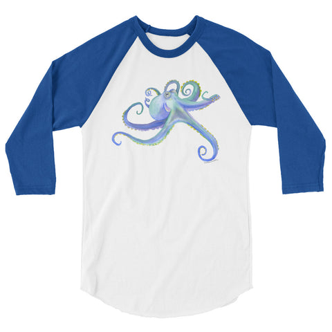 Octopus Watercolor 3/4 sleeve raglan shirt