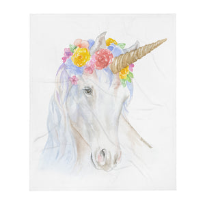 Unicorn Watercolor Throw Blanket