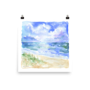 Abstract Beach and Sand Dunes Watercolor