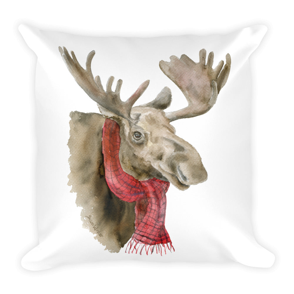 Moose in a Scarf Square Pillow