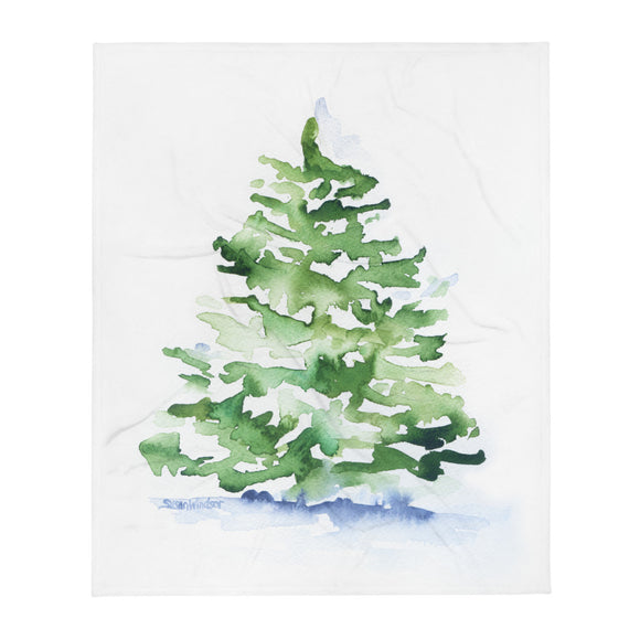Christmas Tree Evergreen Watercolor Throw Blanket
