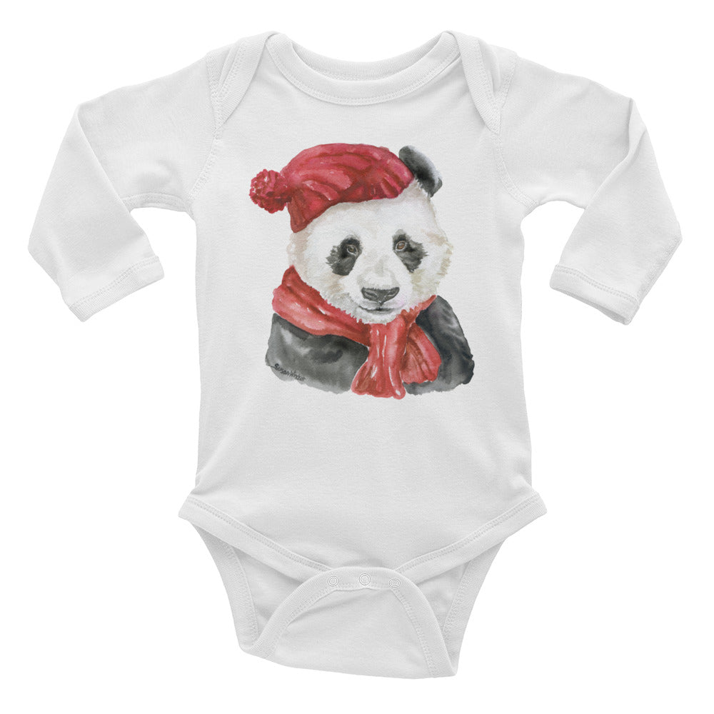Panda Bear with a Red Hat and Scarf Infant Long Sleeve Bodysuit
