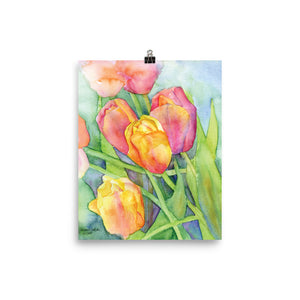 Bright Tulips Watercolor