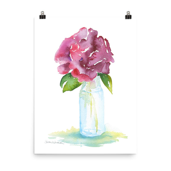 Rose in a Glass Vase Watercolor